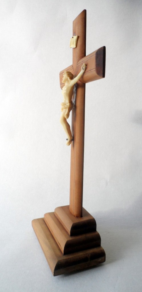 Vintage Mid Century French Wood Wooden Crucifix Cross On